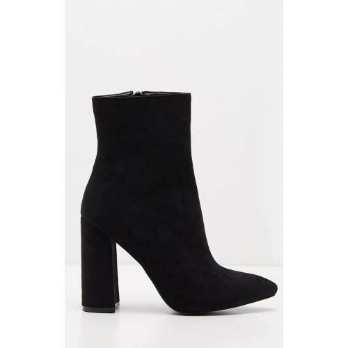 INDIGO 黒 ブラック スエード スウェード ハイ 【 BLACK FAUX SUEDE HIGH POINT ANKLE BOOT 】 送料無料