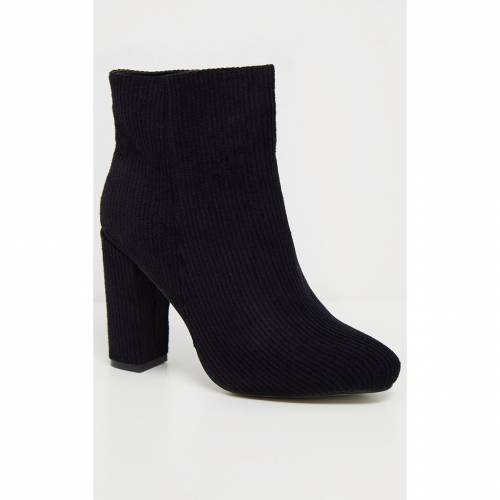 INDIGO ブーツ 【 Prettylittlething Cord Behati Ankle Boot 】 Black