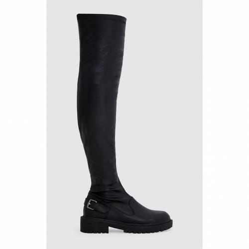 【スーパーセール中! 6/11深夜2時迄】INDIGO バックル 【 Prettylittlething Pu Buckle Detail Chunky Over The Knee Boots 】 Black