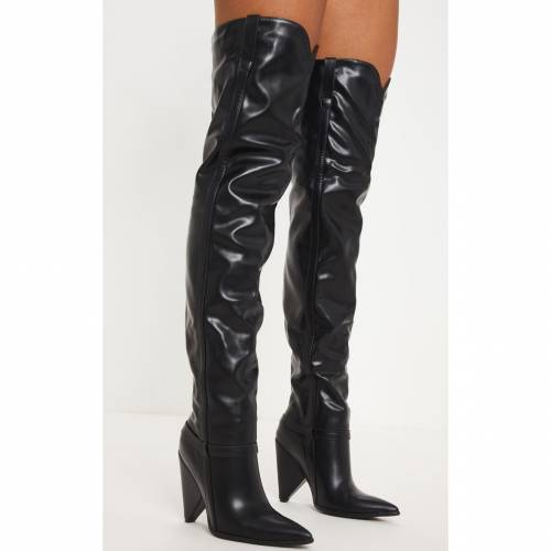 RSSEDGE ハイ ブーツ 【 Prettylittlething Snake Cone Heel Thigh High Western Boot 】 Black
