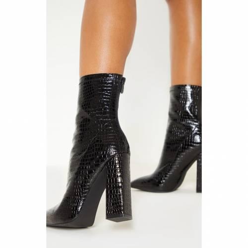 【スーパーセール中! 6/11深夜2時迄】INDIGO ブーツ 【 Prettylittlething Croc Block Heel Point Boot 】 Black