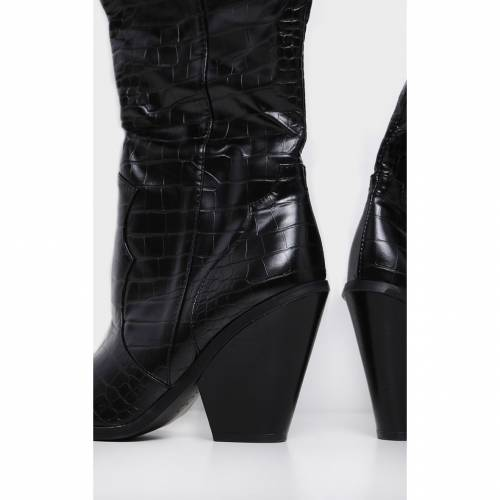 RSSEDGE ハイ ブーツ 【 Prettylittlething Thigh High Croc Western Boot 】 Black