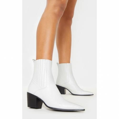 INDIGO ブーツ 【 Prettylittlething Chelsea Western Ankle Boot 】 White