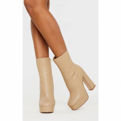 INDIGO ブーツ 【 Prettylittlething Platform Ankle Boot 】 Nude