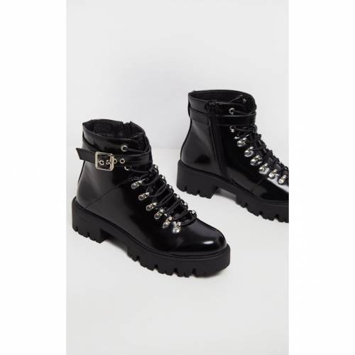 URBAN バックル ブーツ 【 Prettylittlething Hiker Lace Up Ankle Buckle Boot 】 Black