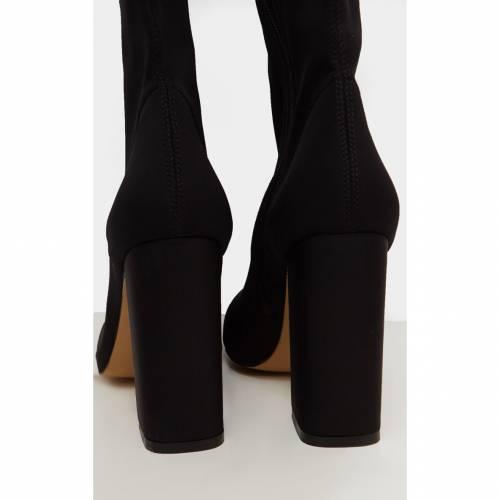 RSSEDGE ハイ ブーツ 【 Prettylittlething High Point Lycra Thigh High Boot 】 Black