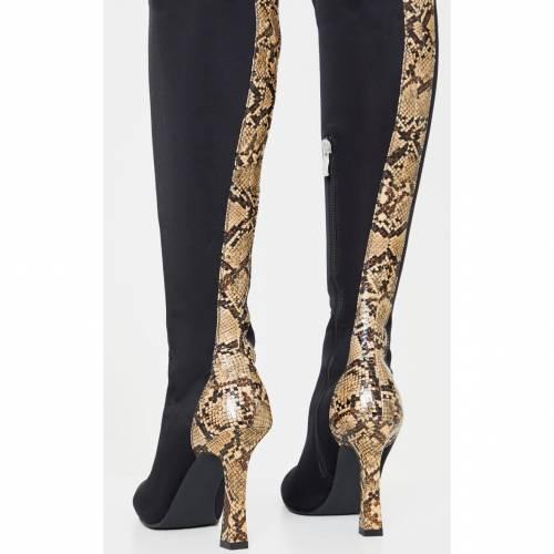 INDIGO ハイ ブーツ 【 Prettylittlething Flare Heel Zip Back Thigh High Boot 】 Black