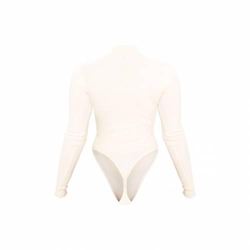 ZERO スリーブ レディースファッション トップス 【 Prettylittlething Petite Heavy Rib Frill Edge Long Sleeve Bodysuit 】 Cream