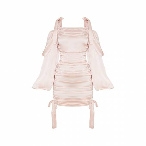 4FASHION サテン ドレス 【 4FASHION PRETTYLITTLETHING SATIN RUCHED BARDOT BODYCON DRESS BLUSH 】 レディースファッション ドレス
