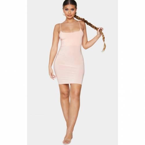 FASH ストラップ ドレス 【 FASH PRETTYLITTLETHING SLINKY SPAGHETTI STRAP BODYCON DRESS PEACH 】 レディースファッション ドレス