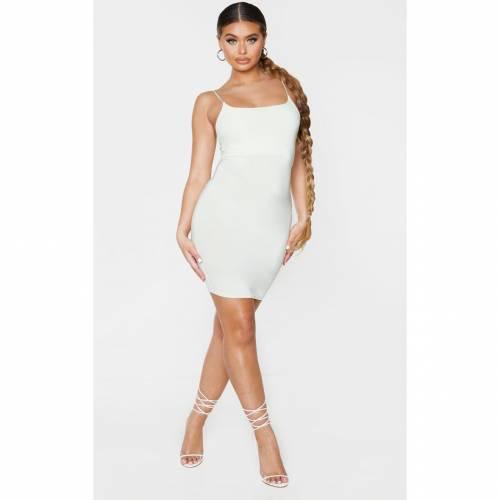 FASH ストラップ ドレス 【 FASH PRETTYLITTLETHING SLINKY SPAGHETTI STRAP BODYCON DRESS LIGHT LIME 】 レディースファッション ドレス