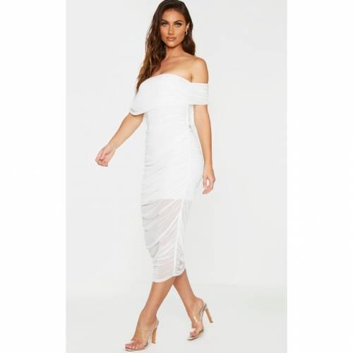 PASSIOND 白 ホワイト 【 WHITE PASSIOND PRETTYLITTLETHING MESH RUCHED BARDOT MIDAXI 】 レディースファッション ドレス