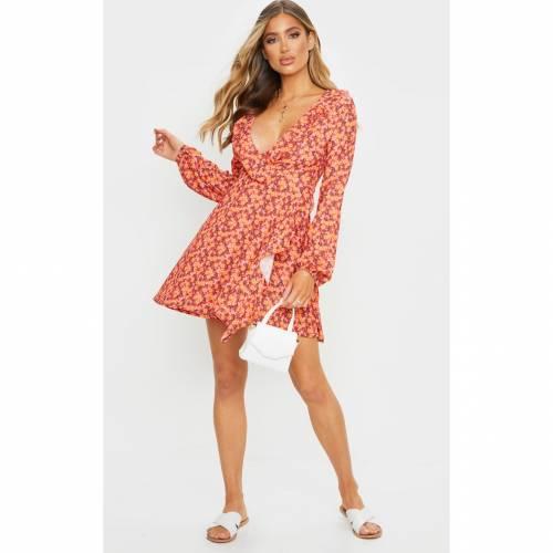 REALCAT ドレス 赤 レッド 【 RED REALCAT PRETTYLITTLETHING DAISY PRINT FRILL DETAIL TEA DRESS 】 レディースファッション ドレス