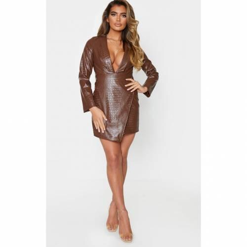 【スーパーセール中! 6/11深夜2時迄】JANDB レザー ラップ ブレーザー ブレイザー ドレス 【 Prettylittlething Faux Leather Croc Embossed Button Wrap Blazer Dress 】 Chocolate Brown
