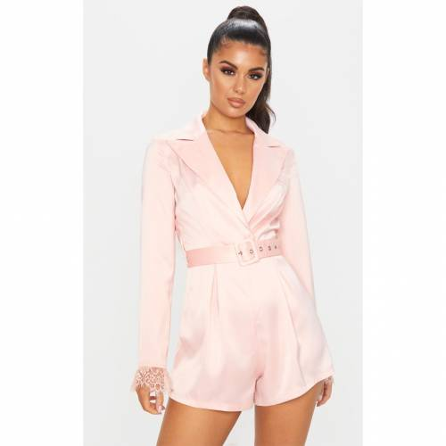 4FASHION サテン レディースファッション トップス 【 Prettylittlething Satin Lace Trim Belted Playsuit 】 Dusty Pink