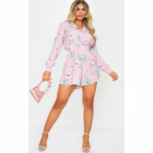 4FASHION レディースファッション トップス 【 Prettylittlething Floaty Short Shirt Style Playsuit 】 Dusty Pink