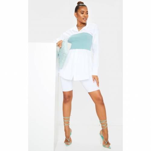 MIAFASHI 白 ホワイト スリーブ レディースファッション トップス シャツ ブラウス 【 Prettylittlething Rib Bust Panel White Puff Sleeve Shirt 】 Mint