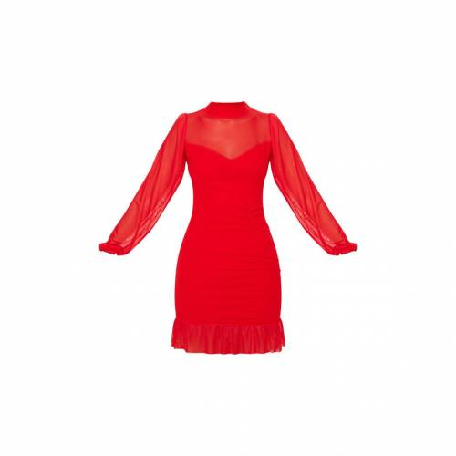 REDLABEL ハイ ドレス 赤 レッド 【 RED REDLABEL PRETTYLITTLETHING HIGH NECK RUCHED MESH CONTRAST BODYCON DRESS 】 レディースファッション ドレス