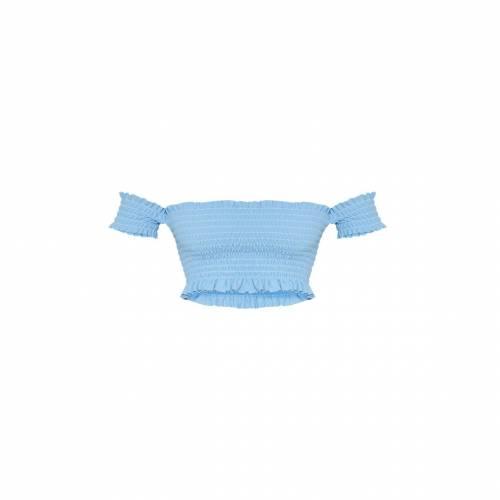 FASHIONM クロップ レディースファッション トップス 【 Prettylittlething Tall Shirred Bardot Crop Top 】 Dusty Blue