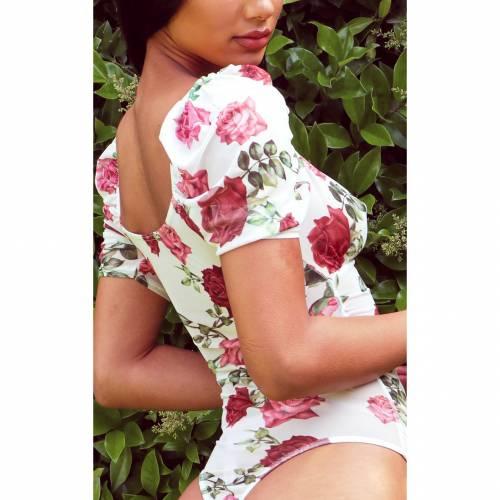 PASSIOND スリーブ レディースファッション トップス 【 Prettylittlething Floral Printed Mesh Short Puff Sleeve Bodysuit 】 Rose