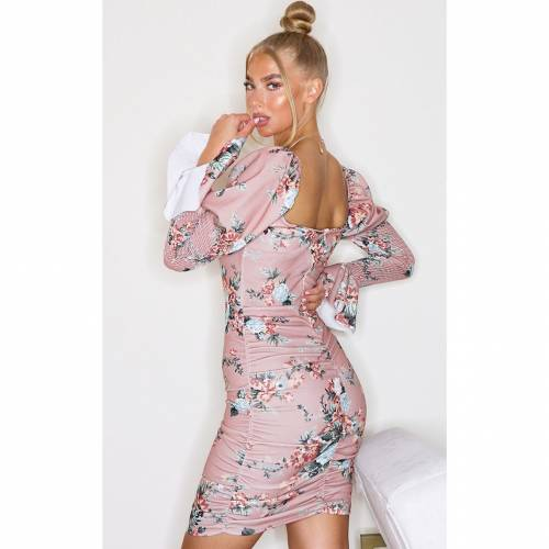 GARY_ARG スリーブ ドレス ローズ GARY_ARG 【 SLEEVE ROSE PRETTYLITTLETHING FLORAL SHIRRING PUFF RUCHED BODYCON DRESS 】 レディースファッション ドレス
