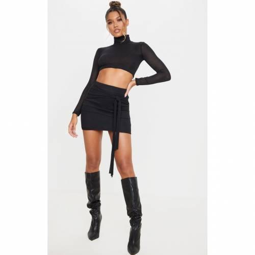 GLOBALLE ニット ハイ クロップ レディースファッション トップス 【 Prettylittlething Lightweight Knit High Neck Crop Top 】 Black
