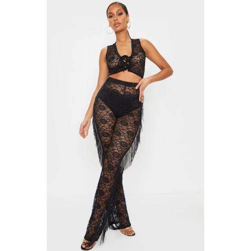 LILY クロップ レディースファッション トップス 【 Prettylittlething Crochet Lace Fringe Tie Front Crop Top 】 Black