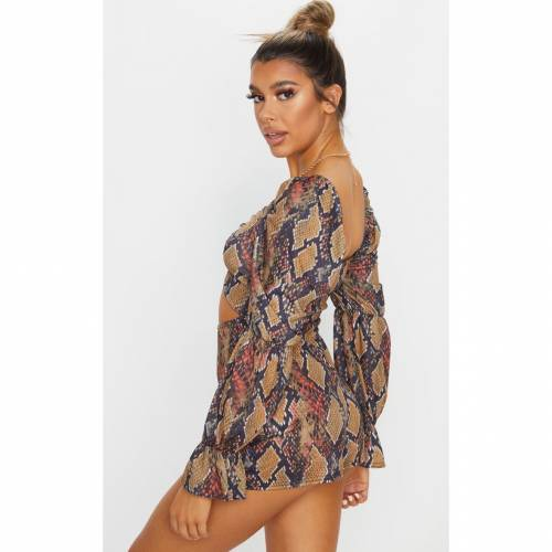 PASSIOND レディースファッション トップス 【 Prettylittlething Snake Print Ruched Bust Playsuit 】 Brown