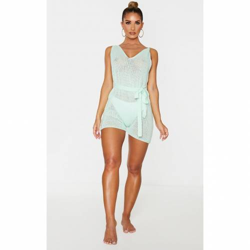 DEE_KAY レディースファッション トップス 【 Prettylittlething Low Back Knitted Strappy Playsuit 】 Mint
