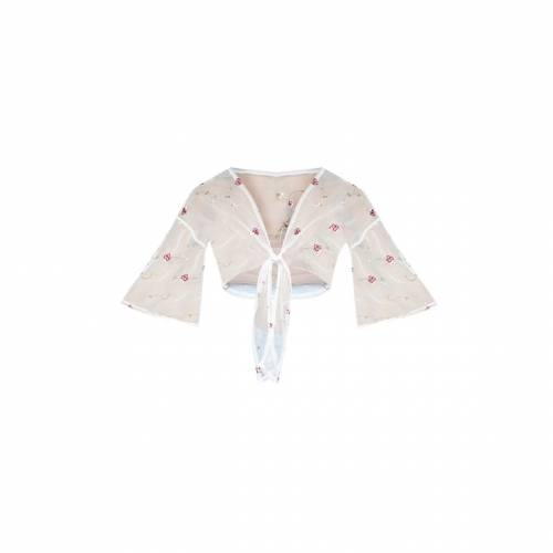 4FASHION クロップ レディースファッション トップス 【 Prettylittlething Sheer Embroidered Plunge Tie Front Crop Top 】 White