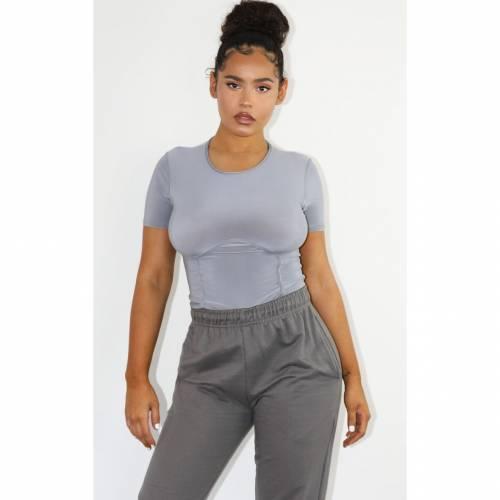 VLTRAD ジャージ スリーブ レディースファッション トップス 【 Prettylittlething Jersey Underbust Short Sleeve Bodysuit 】 Grey