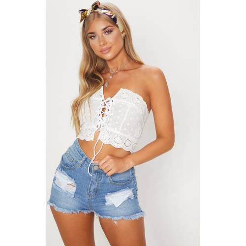 4FASHION クロップ 白 ホワイト 【 CROP WHITE 4FASHION PRETTYLITTLETHING BRODERIE ANGLAISE LACE UP BANDEAU TOP 】 レディースファッション トップス