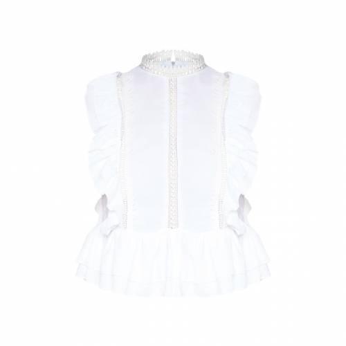 4FASHION ウーブン ハイ ノンスリーブ レディースファッション トップス シャツ ブラウス 【 Prettylittlething Woven High Neck Crochet Detail Sleeveless Blouse 】 White