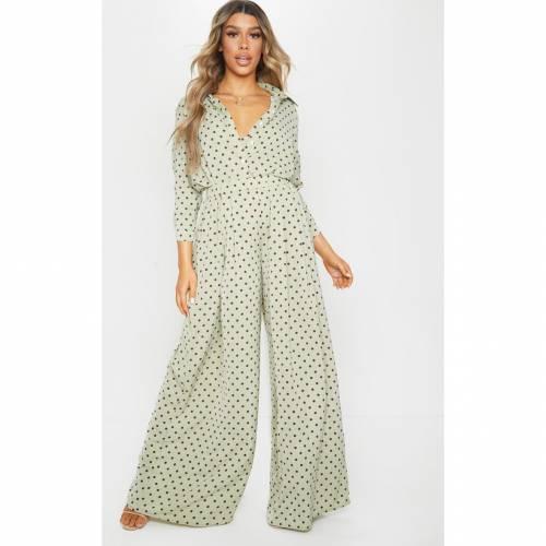 4FASHION レディースファッション トップス シャツ ブラウス 【 Prettylittlething Polka Dot Printed Oversized Shirt 】 Sage Green
