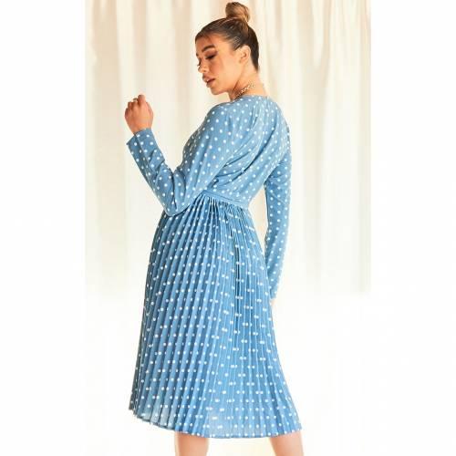 4FASHION スリーブ ドレス 青 ブルー 【 SLEEVE BLUE 4FASHION PRETTYLITTLETHING FLORAL PRINT LONG PLEATED MIDI DRESS 】 レディースファッション ドレス