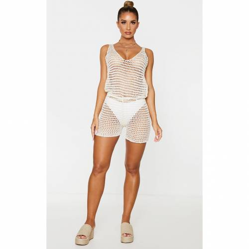 TSKNITW レディースファッション トップス 【 Prettylittlething Crochet Knitted V Neck Playsuit 】 Cream