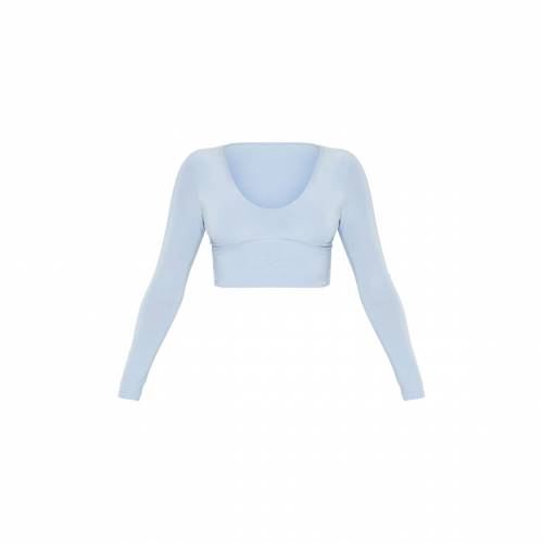 AMBREDES スリーブ クロップ 青 ブルー 【 SLEEVE CROP BLUE AMBREDES PRETTYLITTLETHING SECOND SKIN LONG V NECK TOP BABY 】 レディースファッション トップス