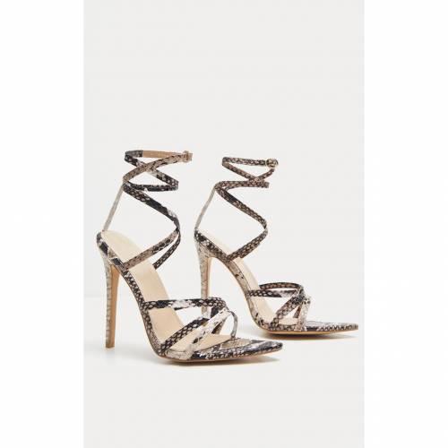 RSSEDGE 【 Prettylittlething Strappy Point Toe Sandal 】 Snake Print