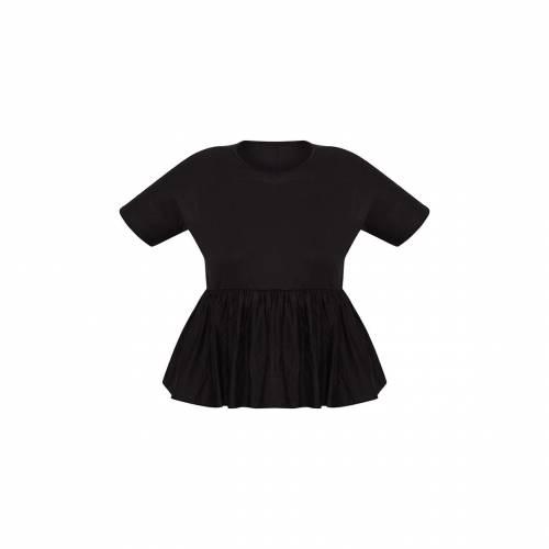 AH 黒 ブラック 【 BLACK AH PRETTYLITTLETHING PLUS FRILL HEM T SHIRT 】 レディースファッション トップス シャツ ブラウス