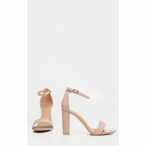 STYLISH 黒 ブラック スエード スウェード 【 BLACK MAY FAUX SUEDE BLOCK HEELED SANDALS NUDE 】
