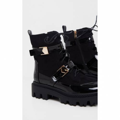 RSSEDGE バックル ブーツ 【 Prettylittlething Buckle Detailed Lace Up Cleated Ankle Boot 】 Black