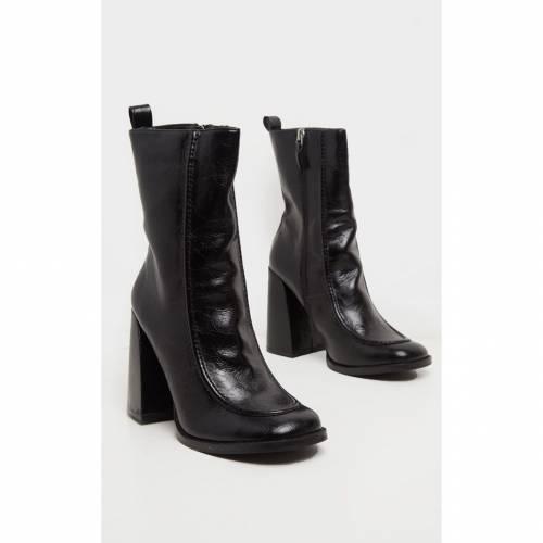 ELEGANT ブーツ 【 Prettylittlething Curved Toe Block Heel Ankle Boot 】 Black