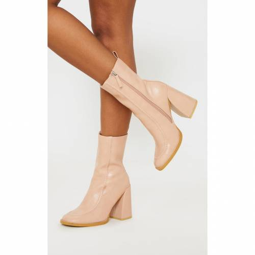 ELEGANT ブーツ 【 Prettylittlething Curved Toe Block Heel Ankle Boot 】 Nude