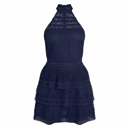4FASHION 黒 ブラック 【 BLACK LACE PANEL TIERED MINI DRESS NAVY 】 レディースファッション ドレス