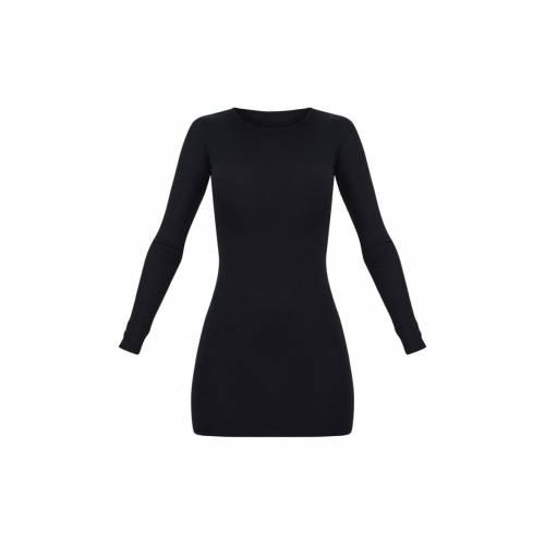 FASH スリーブ ドレス 黒 ブラック 【 SLEEVE BLACK FASH PRETTYLITTLETHING BASIC RIBBED LONG BODYCON DRESS 】 レディースファッション ドレス
