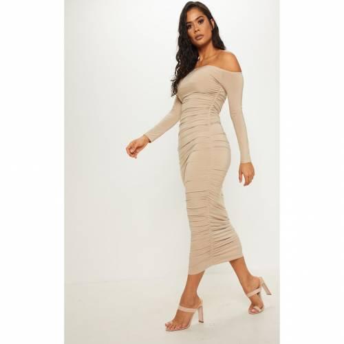 APPARELT ドレス 【 APPARELT PRETTYLITTLETHING BARDOT SLINKY RUCHED MIDAXI DRESS STONE 】 レディースファッション ドレス