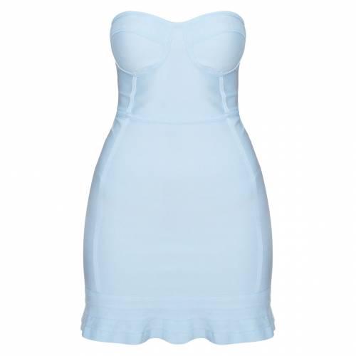 MOGU ドレス 青 ブルー 【 BLUE MOGU PRETTYLITTLETHING BANDAGE FRILL HEM BODYCON DRESS DUSTY 】 レディースファッション ドレス