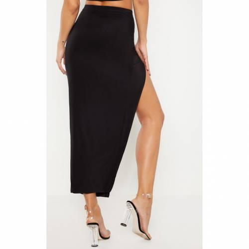 レディースファッション BLACK ボトムス MIDAXI AMBREDES SKIRT SLINKY 】 スカート ブラック 黒色 AMBREDES 【 PRETTYLITTLETHING