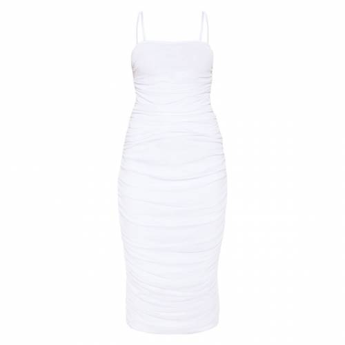 DENOVO 黒 ブラック 【 BLACK STRAPPY MESH RUCHED MIDAXI DRESS WHITE 】 レディースファッション ドレス