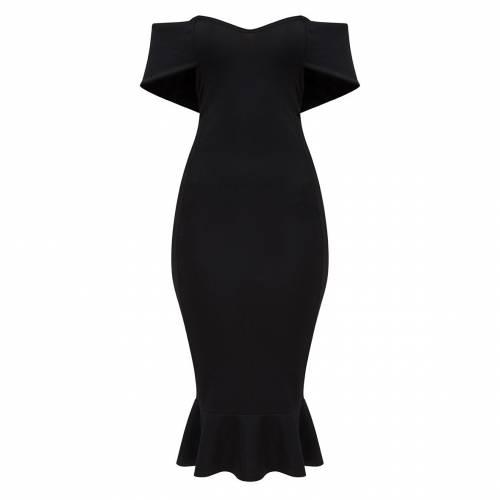 DENOVO ドレス 黒 ブラック 【 BLACK DENOVO PRETTYLITTLETHING BARDOT FRILL HEM MIDI DRESS 】 レディースファッション ドレス